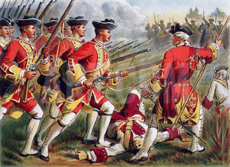 British Foot at the Battle of Minden on 1st August 1759 in the Seven Years War: picture by Richard Simkin: buy this picture