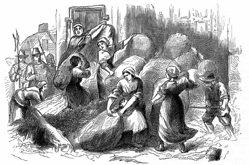 Dorothy Hazzard, Joan Batten and Widow Kelly led a party of women who attempted to re-inforce the gate with woolsacks and earth to keep the Royalists from breaking through.