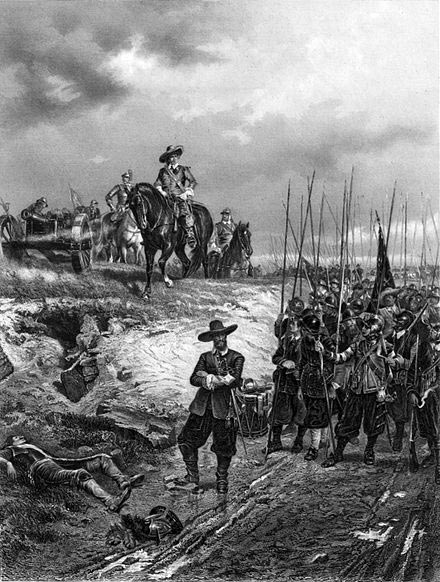 Oliver Cromwell and a regiment of Parliamentary Foot at the Battle of Marston Moor on 2nd July 1644 in the English Civil War