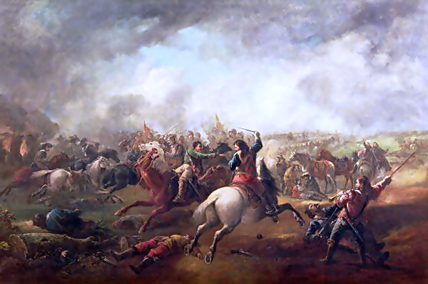 The Battle of Marston Moor on 2nd July 1644 in the English Civil War: picture by J. Barker