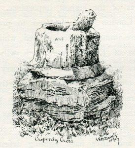 Cropredy Cross: Battle of Cropredy Bridge on 29th June 1644 in the English Civil War: drawing by C.R.B. Barrett