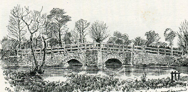 Cropredy Bridge: Battle of Cropredy Bridge on 29th June 1644 in the English Civil War: drawing by C.R.B. Barrett
