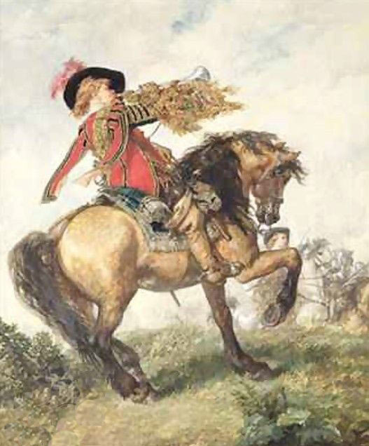 The King's Trumpeter: Battle of Cropredy Bridge on 29th June 1644 in the English Civil War: picture by Sir John Gilbert