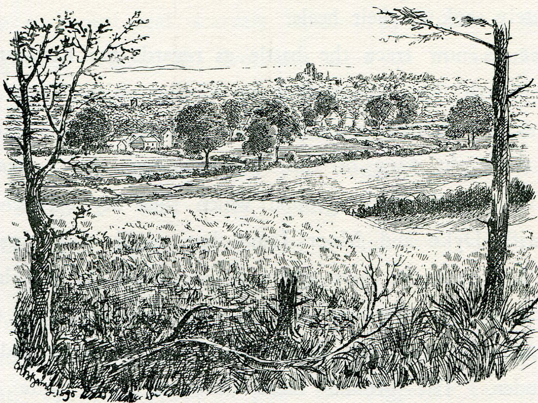 Marston Moor looking east to York: Battle of Marston Moor on 2nd July 1644 in the English Civil War: drawing by C.R.B. Barrett