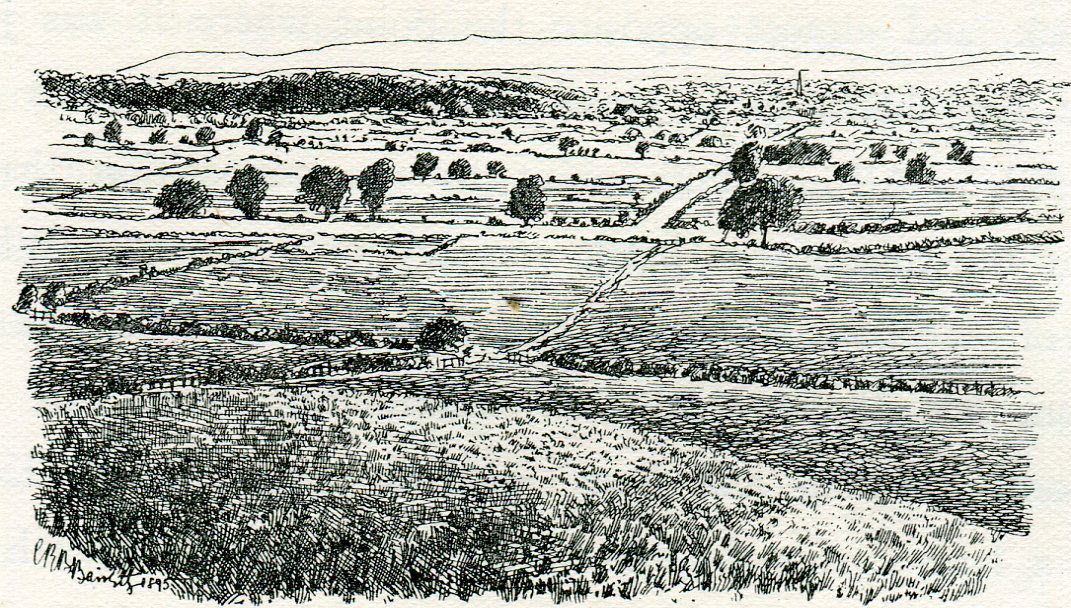 Marston Moor looking north from the Parliamentary Scots position at the beginning of the Battle of Marston Moor on 2nd July 1644 in the English Civil War: drawing by C.R.B. Barrett