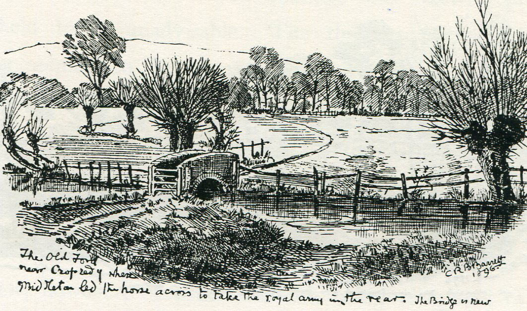 Old Ford at Cropredy Bridge: Battle of Cropredy Bridge on 29th June 1644 in the English Civil War: drawing by C.R.B. Barrett