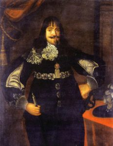 Major-General Sir James Lumsden commanding the second rank of Foot in the centre of the Parliamentary-Scots army at the Battle of Marston Moor on 2nd July 1644 in the English Civil War