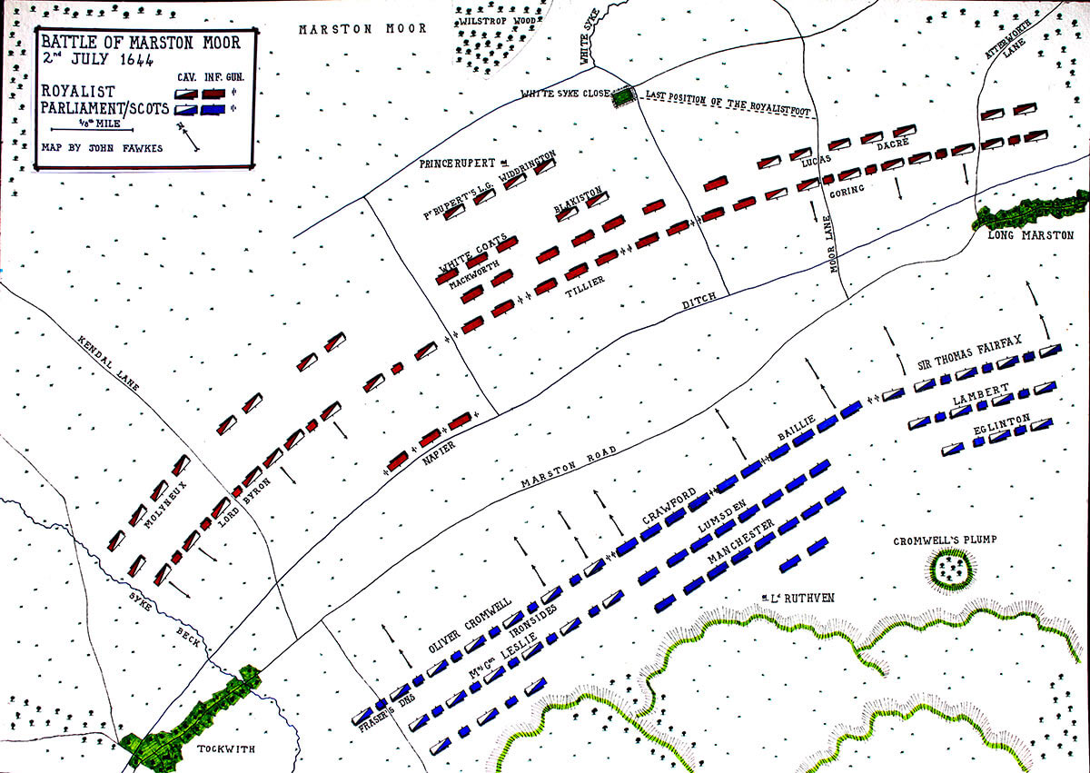 Battle of Marston Moor 2nd July 1644 in the English Civil War: map by John Fawkes