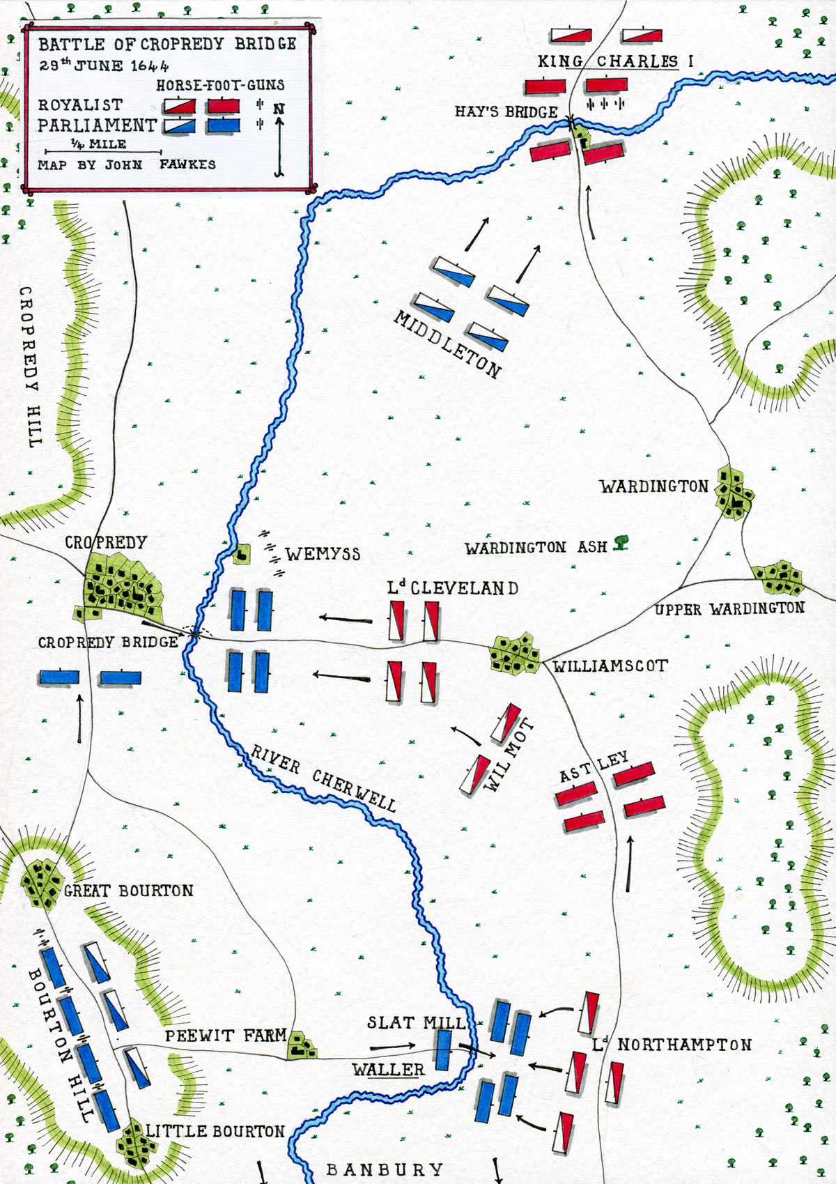 Map of the Battle of Cropredy Bridge on 29th June 1644 in the English Civil War: map by John Fawkes