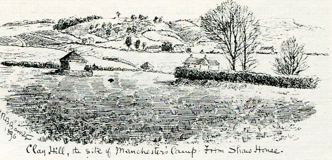 Clay Hill seen from Shaw House: Second Battle of Newbury 27th October 1644 during the English Civil War: drawing by C.R.B. Barrett