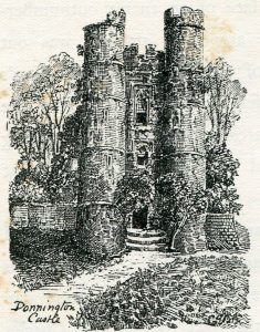 The Gatehouse of Donnington Castle after the castle was destroyed in 1645 on the order of Parliament: Second Battle of Newbury 27th October 1644 during the English Civil War: drawing by C.R.B. Barrett