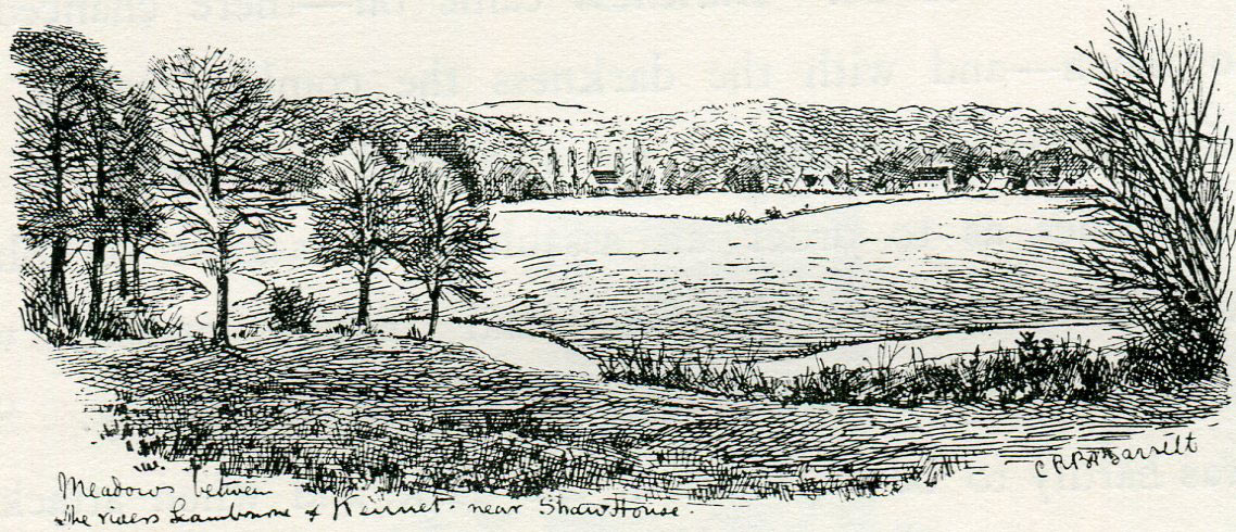 Meadows between the rivers Kennet and Lambourn at Shaw House: Second Battle of Newbury 27th October 1644 during the English Civil War: drawing by C.R.B. Barrett