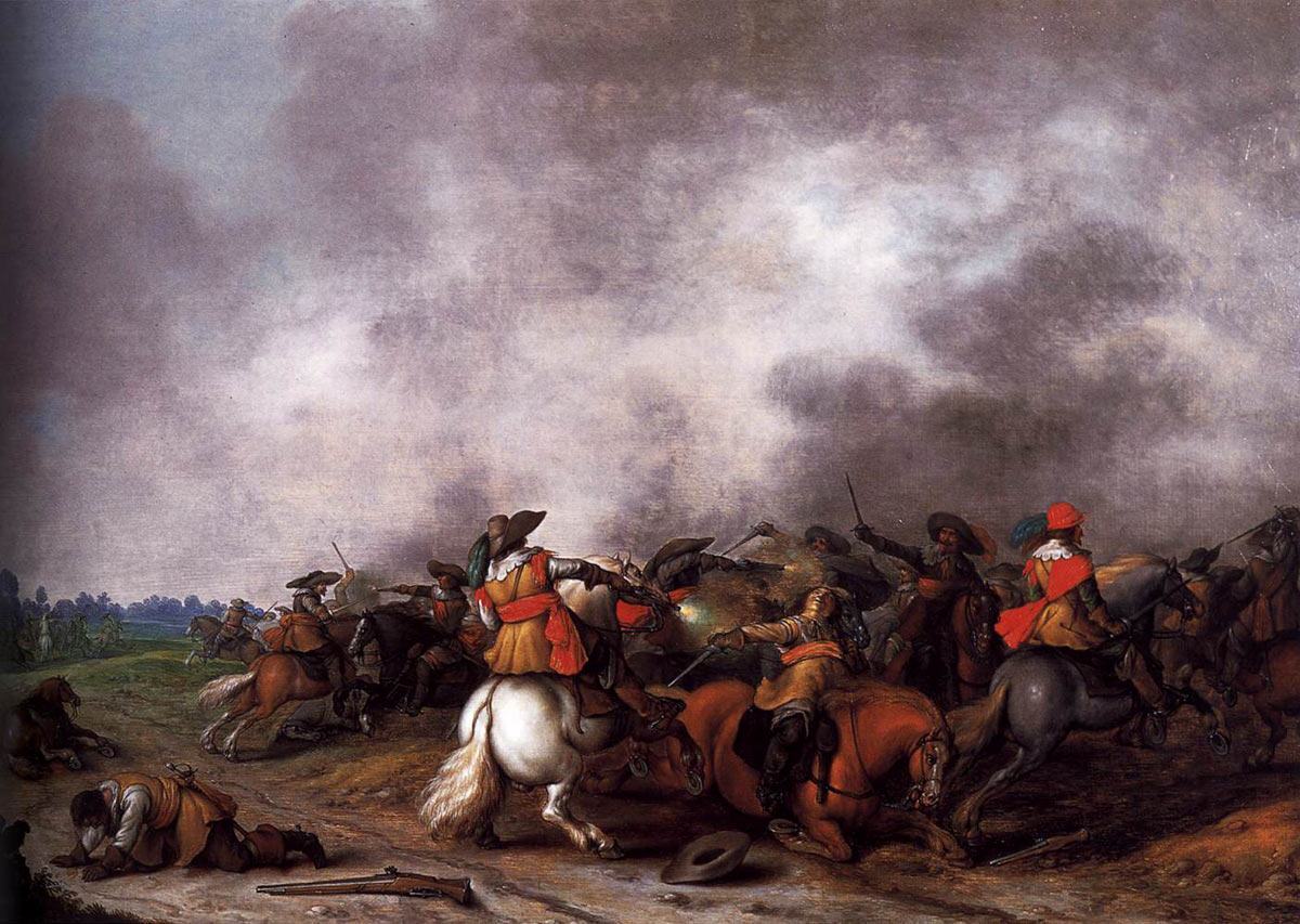 Second Battle of Newbury 27th October 1644 during the English Civil War: picture by Palamedes Palamesz: click here to buy a picture by Palamedes Palamesz