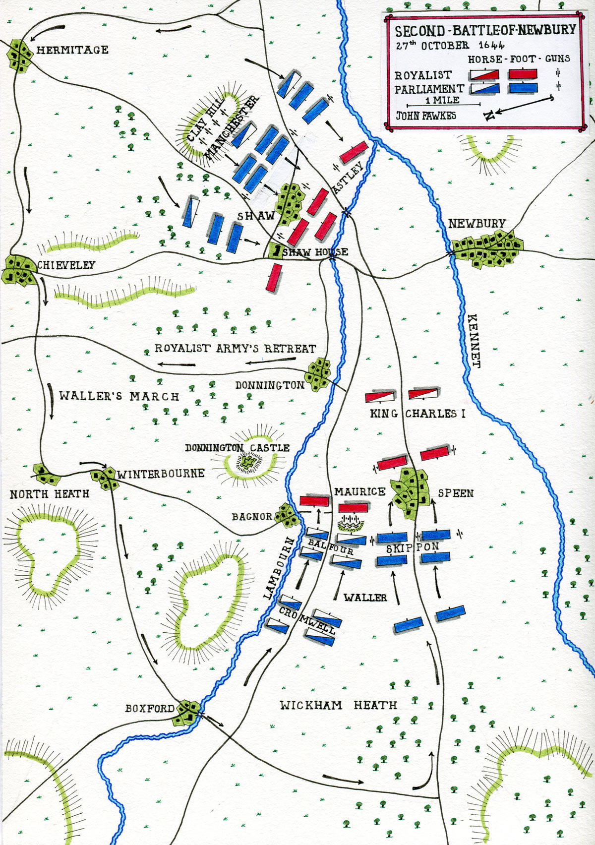Map of the Second Battle of Newbury 27th October 1644 during the English Civil War: map by John Fawkes