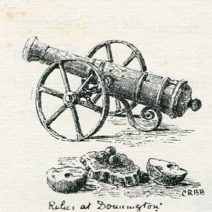 Gun from Donnington Castle used at the Second Battle of Newbury 27th October 1644 during the English Civil War: drawing by C.R.B. Barrett