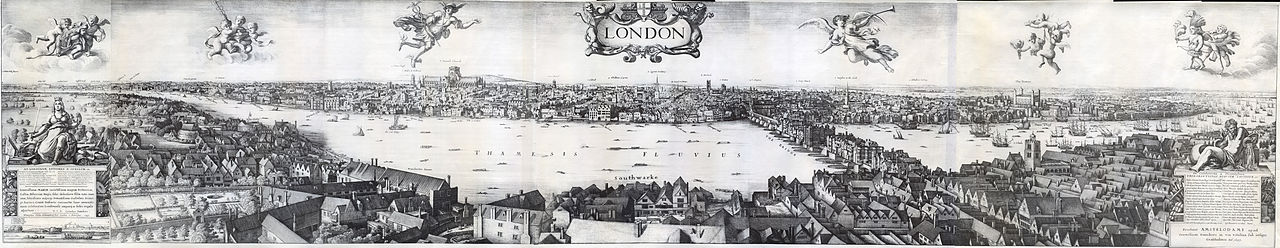 Long view of London: engraving by Wencelaus Hollar a member of the Basing House garrison: Siege of Basing House 1642 to 1645 during the English Civil War: click here to buy this picture