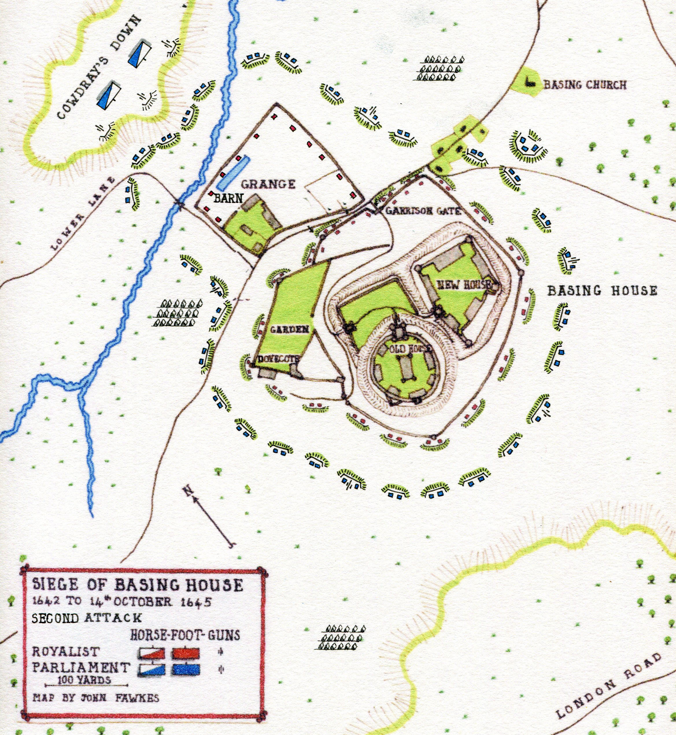 Map of the Second Attack on Basing House from 11th July 1644: Siege of Basing House 1642 to 1645 during the English Civil War