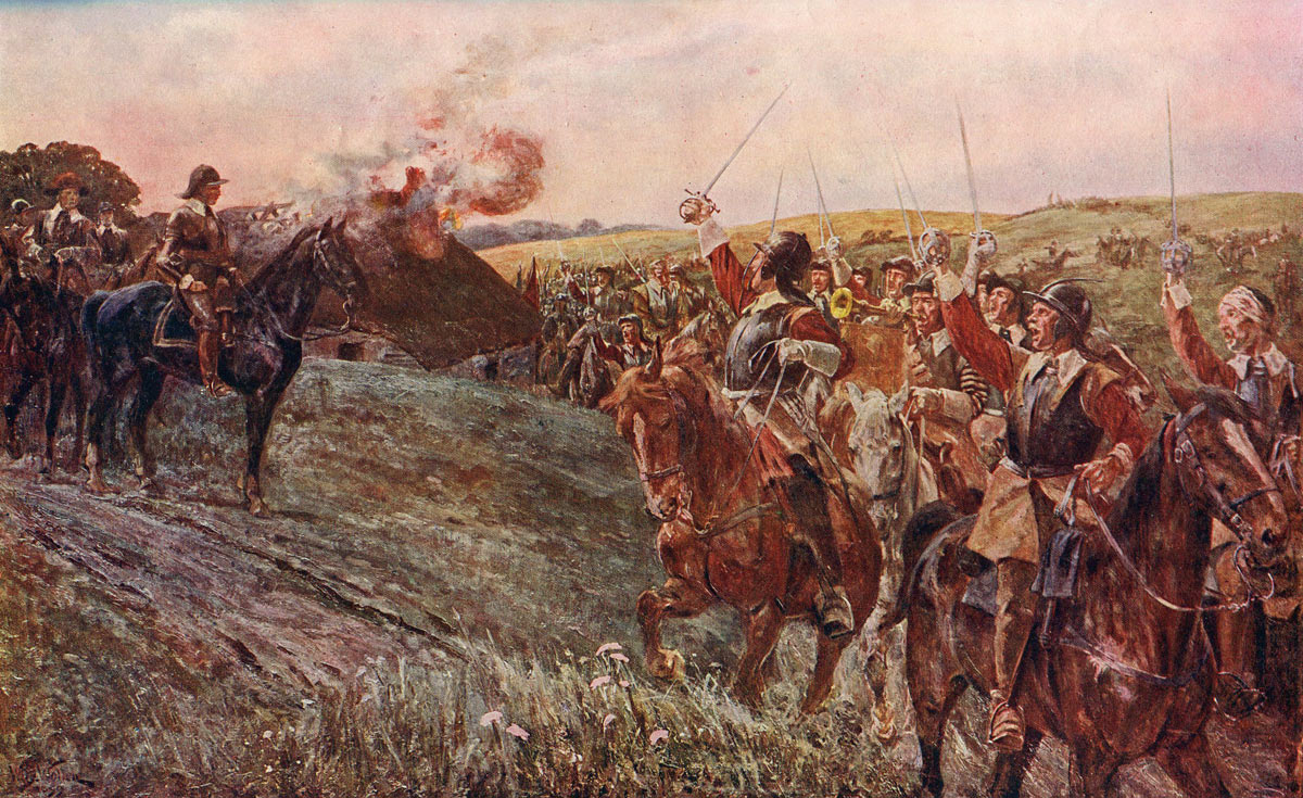 Oliver Cromwell cheered by his soldiers after the Battle of Naseby 14th June 1645 during the English Civil War: picture by William Barnes Wollen: click here to buy this picture