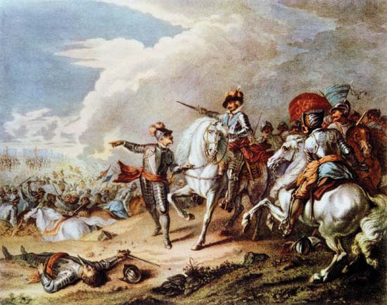 Lord Carnwarth taking the King's bridle at the end of the Battle of Naseby 14th June 1645 during the English Civil War