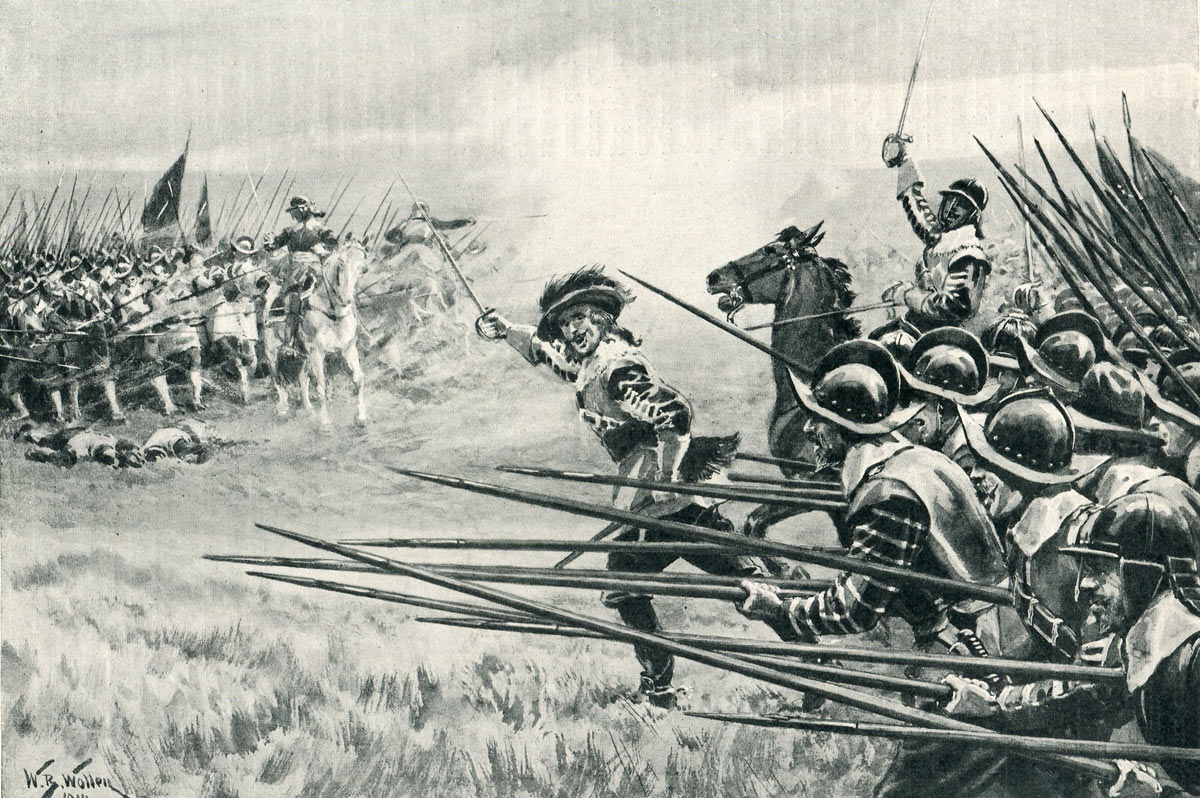 Charge of the Royalist Foot at the Battle of Naseby 14th June 1645 during the English Civil War: picture by William Barnes Wollen