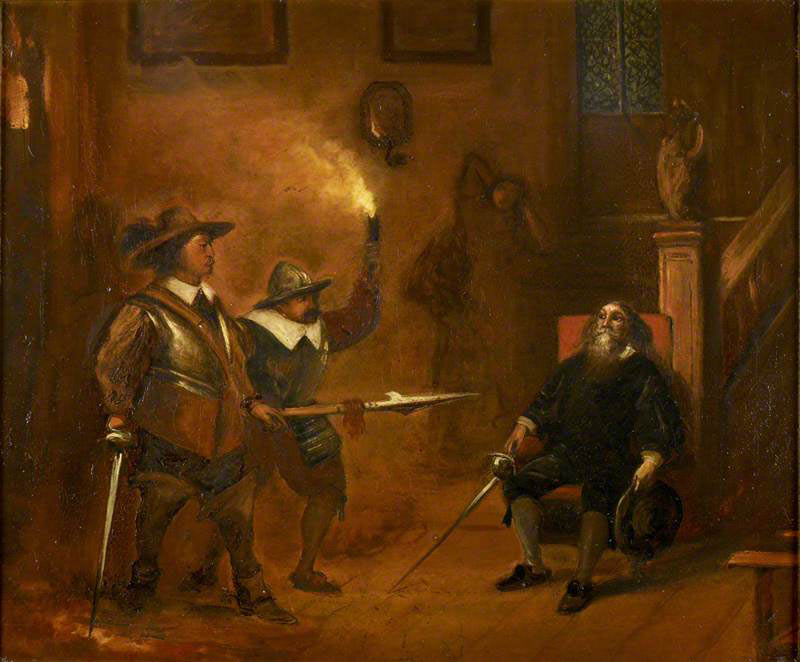 Oliver Cromwell meets the 5th Marquess of Winchester after the storming of Basing House on 14th October 1665: Siege of Basing House 1642 to 1645 during the English Civil War: picture by Ernest Crofts