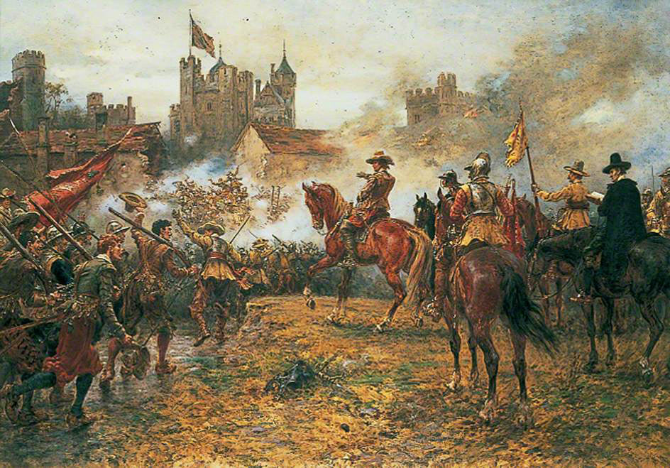 Oliver Cromwell at the Storming of Basing House on 14th October 1645 during the English Civil War: picture by Ernest Crofts