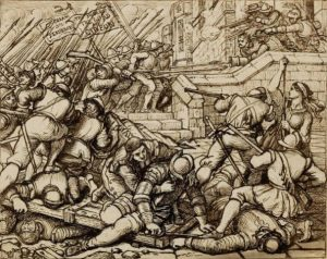 The sketch for Cope's picture 'the Defence of Basing House': Siege of Basing House 1642 to 1645 during the English Civil War