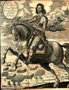 Sir Thomas Fairfax at the Battle of Naseby 14th June 1645 during the English Civil War: engraving by Joshua Sprig