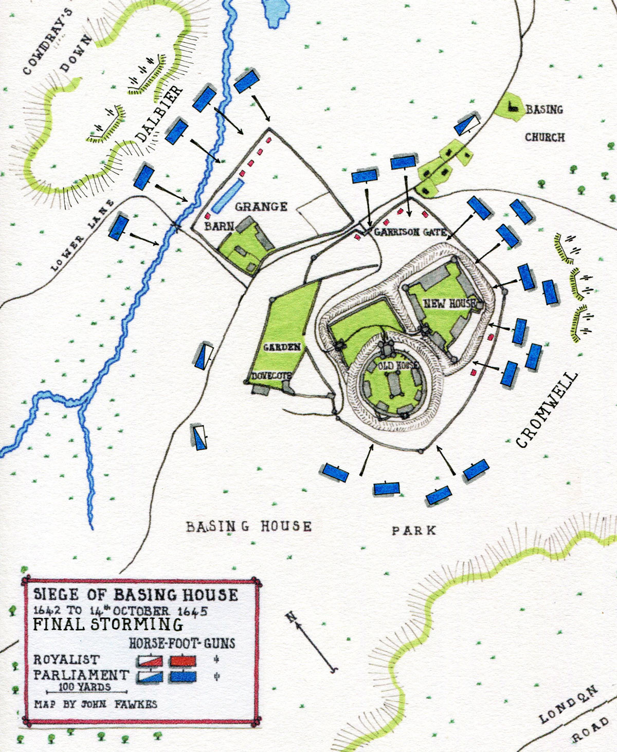 Map of the Final Storming of Basing House on 14th October 1645: Siege of Basing House 1642 to 1645 during the English Civil War: map by John Fawkes
