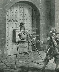 Exploding a petard fixed to a castle gate: Siege of Basing House 1642 to 1645 during the English Civil War