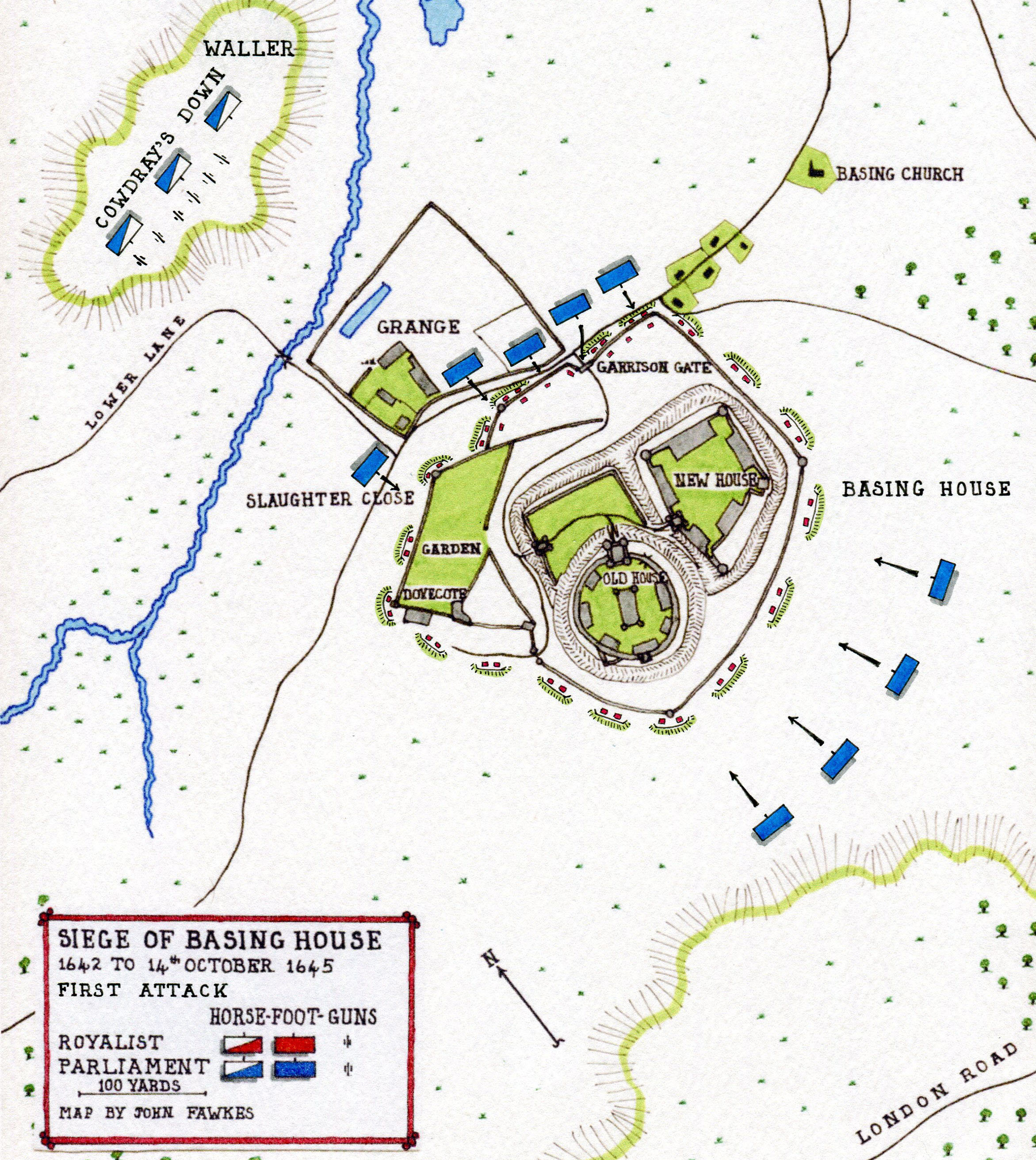 Map of the First Attack on Basing House on 6th November 1643: Siege of Basing House 1642 to 1645 during the English Civil War: map by John Fawkes