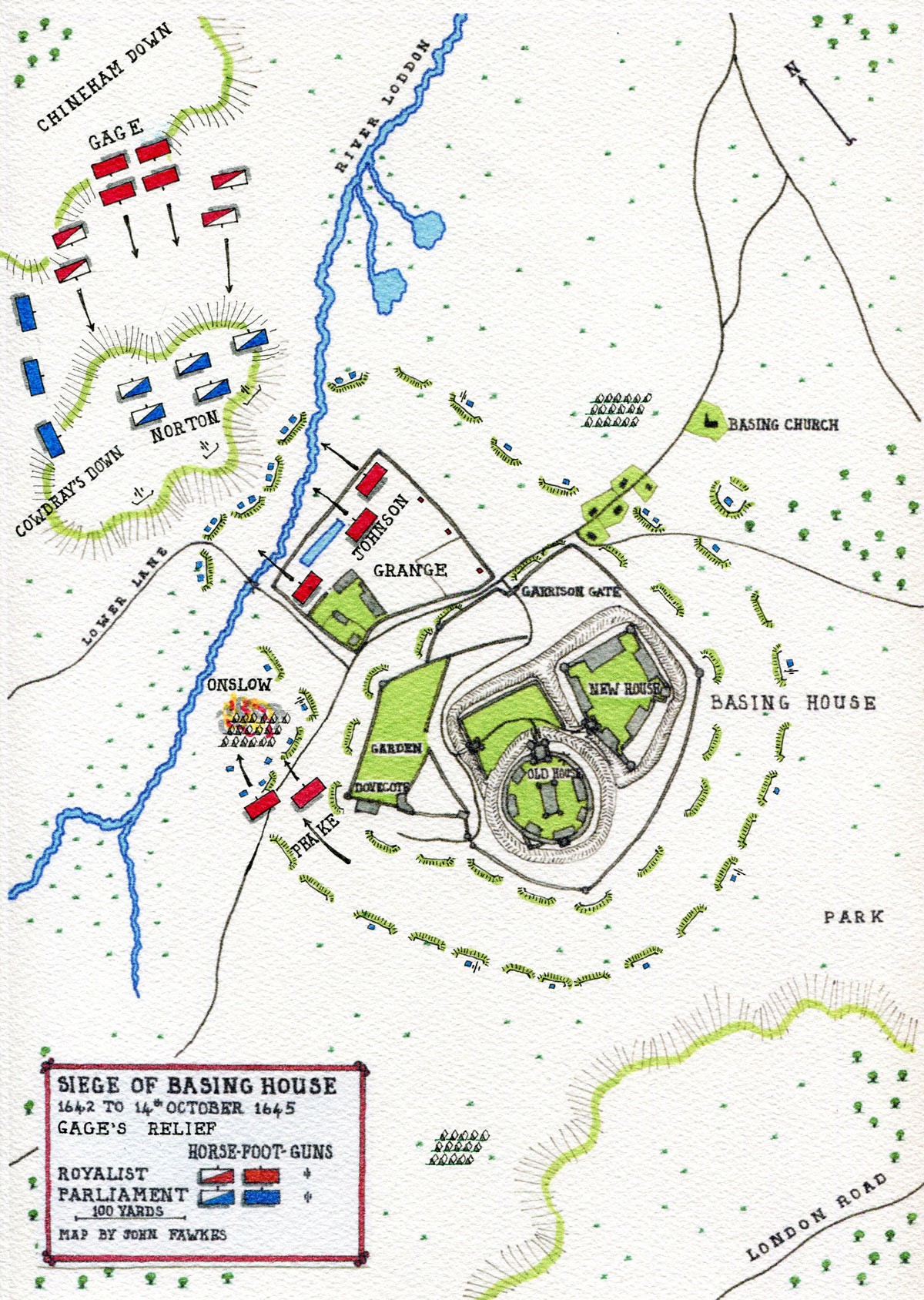 Map of Colonel Gage's Relief of Basing House: Siege of Basing House 1642 to 1645 during the English Civil War: map by John Fawkes: the scale applies to the area of the House alone. Cowdray's Down and Chineham Down are not in scale