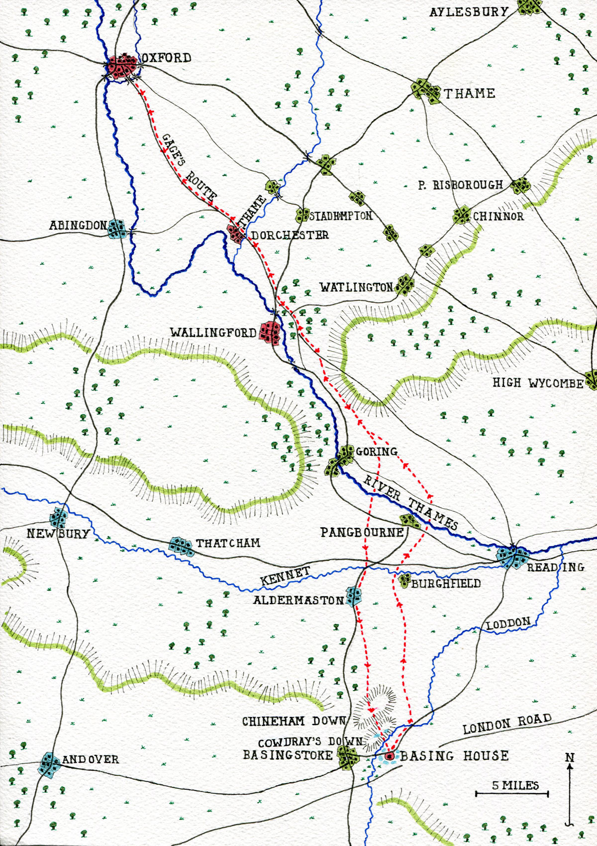 Map of Colonel Gage's route from Oxford to Basing House on 9th and 10th September 1644 and his return to Oxford on 12th September 1644: Siege of Basing House 1642 to 1645 during the English Civil War: map by John Fawkes
