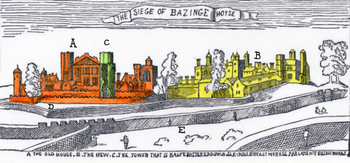 A The Old House B The New House C The Tower that is Half Battered Down D King's Breast Works E Parliament's Breast Works: Siege of Basing House in the English Civil War: engraving by Wencelaus Hollar who was a member of the garrison: this is probably the only reliable image of Basing House before its destruction after the Siege in 1645