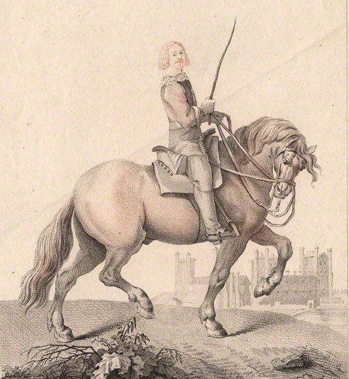 John Paulet 5th Marquess of Winchester the owner and defender of Basing House between 1642 and 1645 during the English Civil War with Basing House in the background: engraving by John Adam