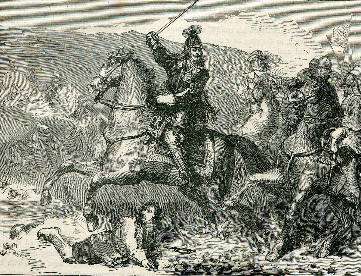 King Charles I leading his Life Guard forward to the attack: Battle of Naseby 14th June 1645 during the English Civil War