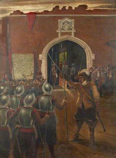 Colonel Gage's relief column enters Basing House by the Garrison Gate of Basing House: Siege of Basing House 1642 to 1645 during the English Civil War