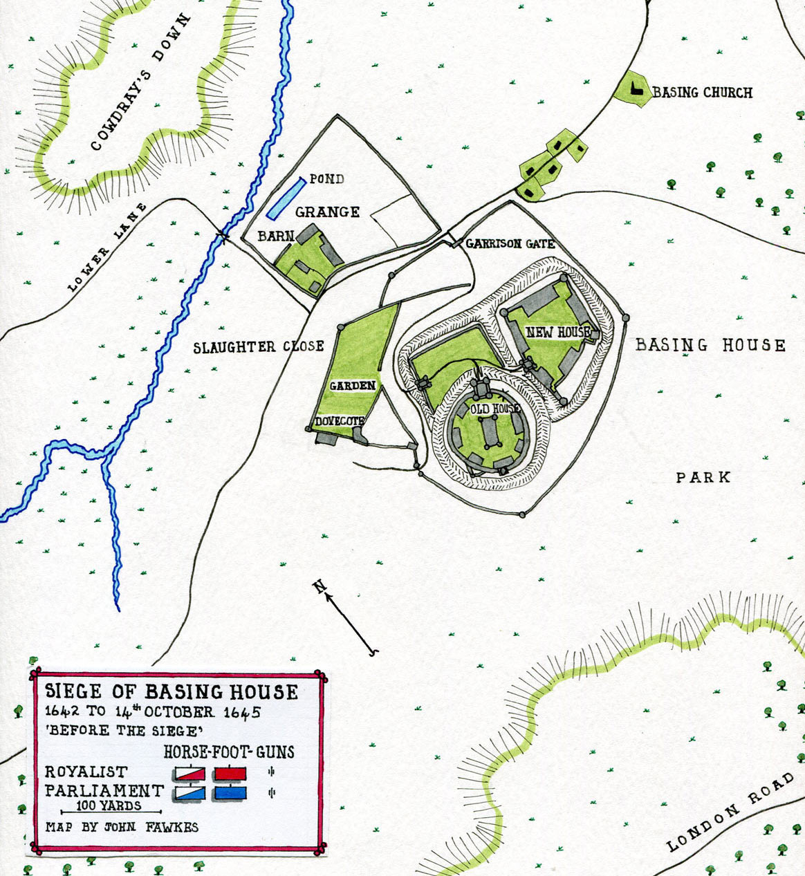 Map of Basing House: Siege of Basing House 1642 to 1645 during the English Civil War: map by John Fawkes