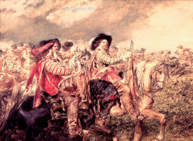 The King's Horse move into position to charge at the Battle of Naseby 14th June 1645 during the English Civil War: picture by Richard Beavis