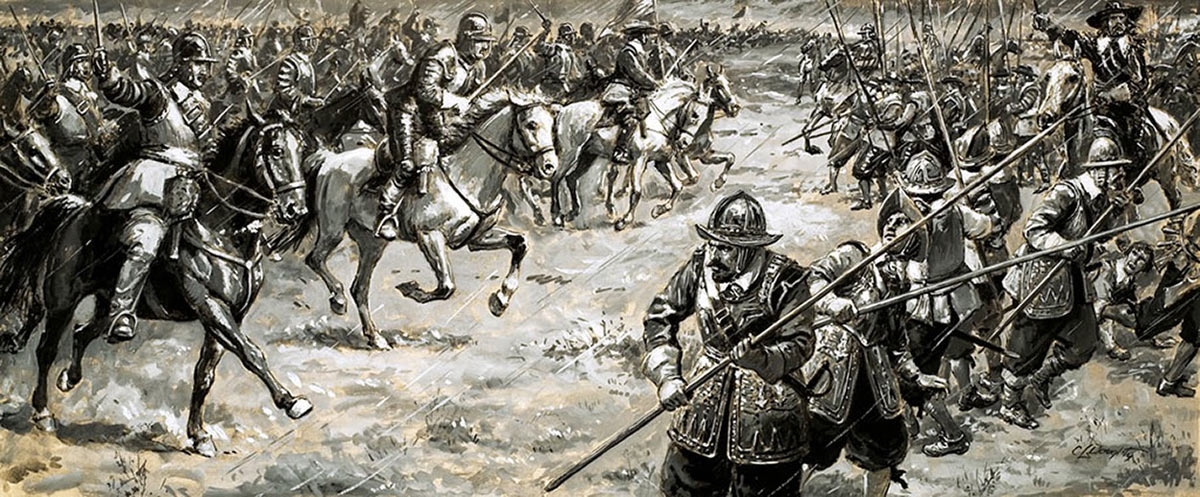Battle of Naseby 14th June 1645 during the English Civil War: picture by Cecil Doughty: click here to buy this picture