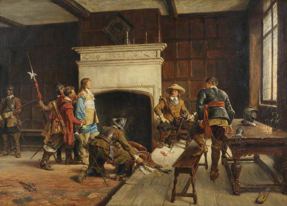 Oliver Cromwell interviewing a Royalist prisoner: Siege of Basing House 1642 to 1645 during the English Civil War