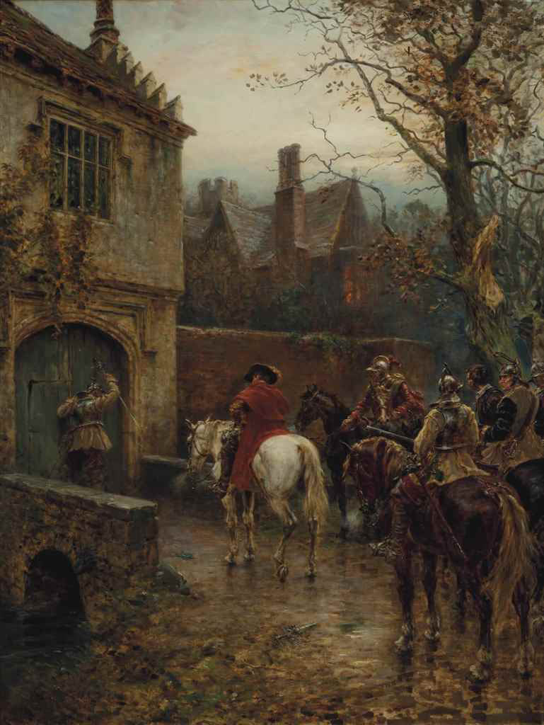 Parliamentary emissaries delivering a summons to surrender: Siege of Basing House 1642 to 1645 during the English Civil War: picture by Ernest Crofts