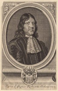 Thomas Johnson eminent herbalist and lieutenant-colonel in the Basing House garrison fatally wounded on 14th September 1744: Siege of Basing House 1642 to 1645 during the English Civil War: engraving by Robert Wright