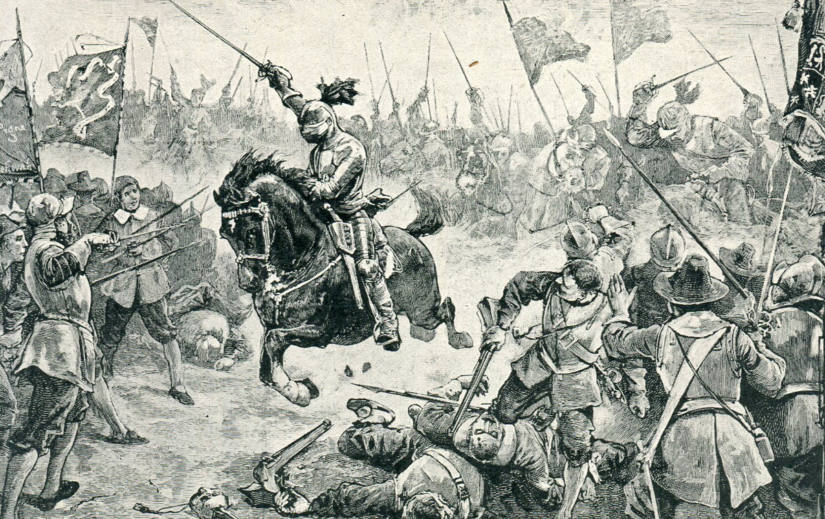 Cromwell's Horse attack the Royalist Foot at the Battle of Naseby 14th June 1645 during the English Civil War