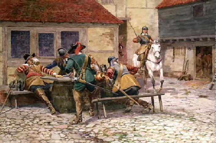 Royalist picket surprised in Naseby on 13th June 1645: Battle of Naseby 14th June 1645 during the English Civil War: picture by William Barnes Wollen