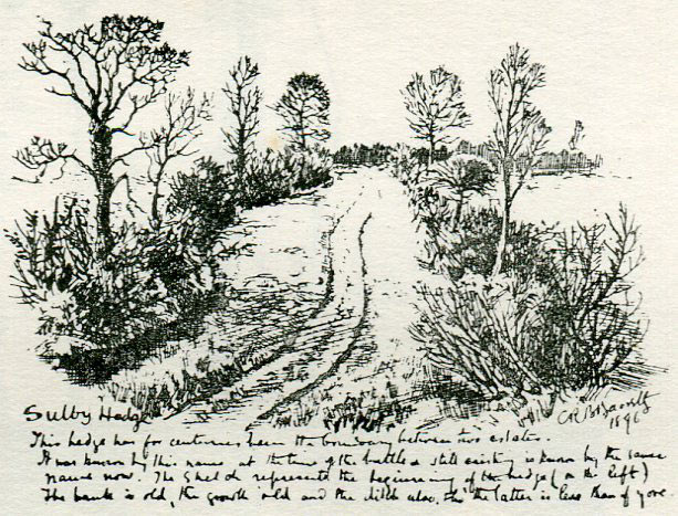 Battlefield of the Battle of Naseby 14th June 1645 during the English Civil War showing the Sulby Hedges: drawing by C.R.B. Barrett in 1896