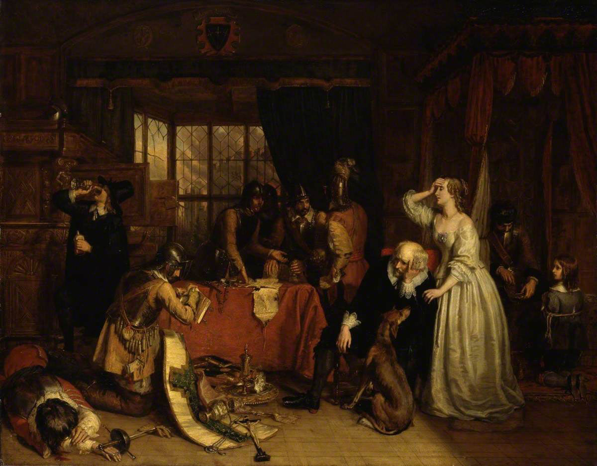 The Looting of Basing House by Charles Landseer: Siege of Basing House 1642 to 1645 during the English Civil War