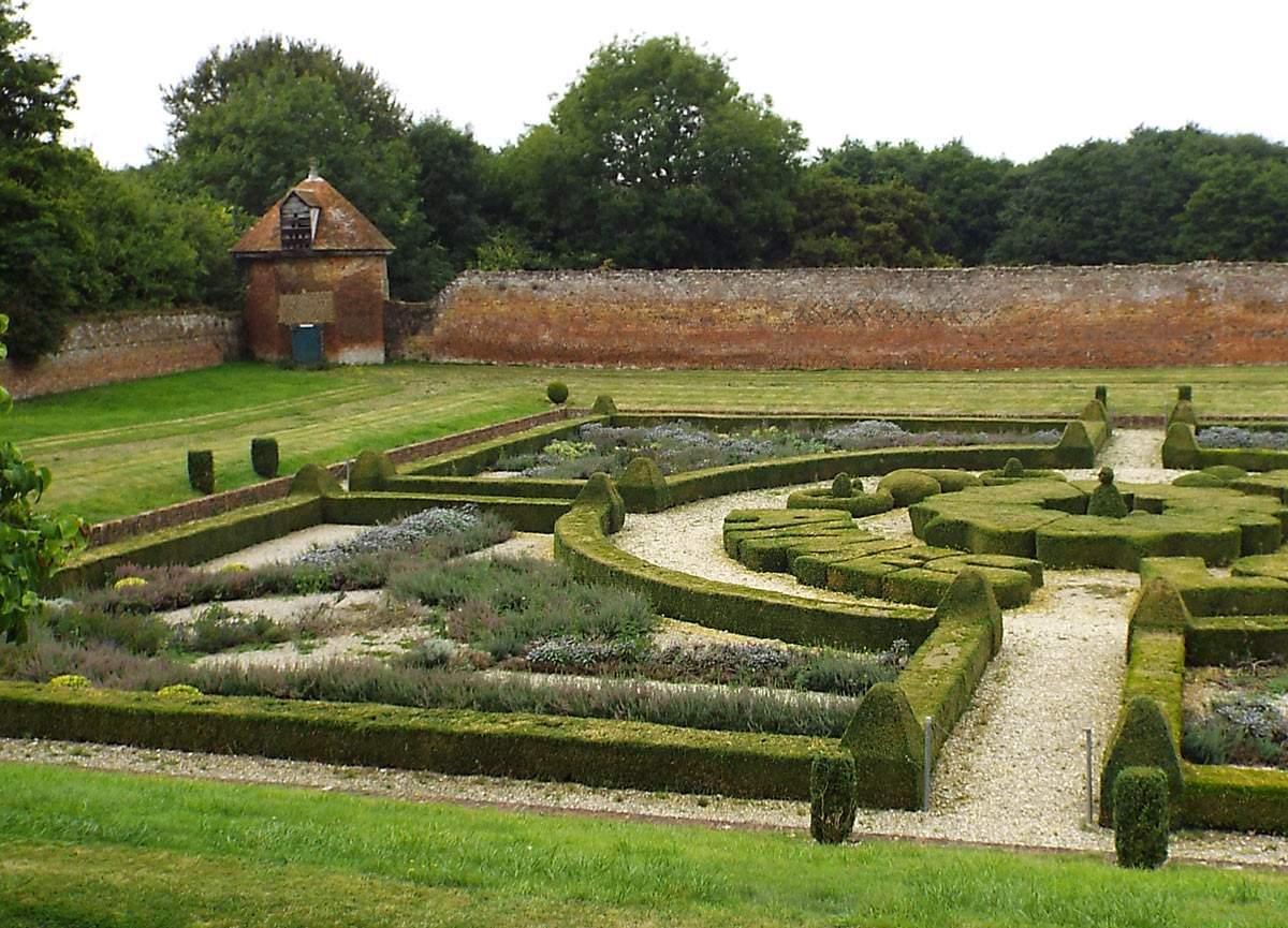 The south-west corner of the perimeter wall of Basing House showing the ornamental garden and the dovecote tower: Siege of Basing House 1642 to 1645 during the English Civil War