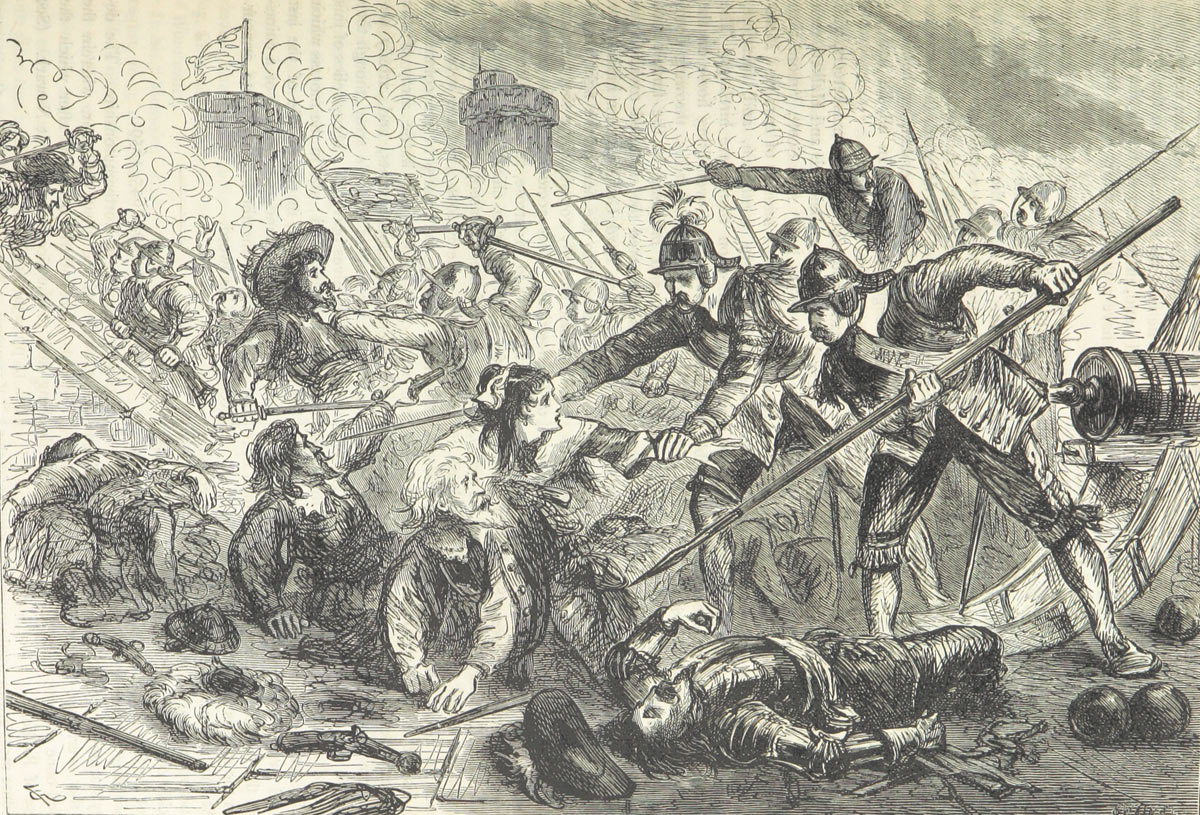 The killing of Dr Griffith's daughter as she attempted to defend him during the final storm of Basing House 14th October 1645: Siege of Basing House 1642 to 1645 during the English Civil War