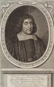 Thomas Fuller chaplain in the Basing House garrison April 1644 to March 1645: Siege of Basing House 1642 to 1645 during the English Civil War: engraving by David Logan